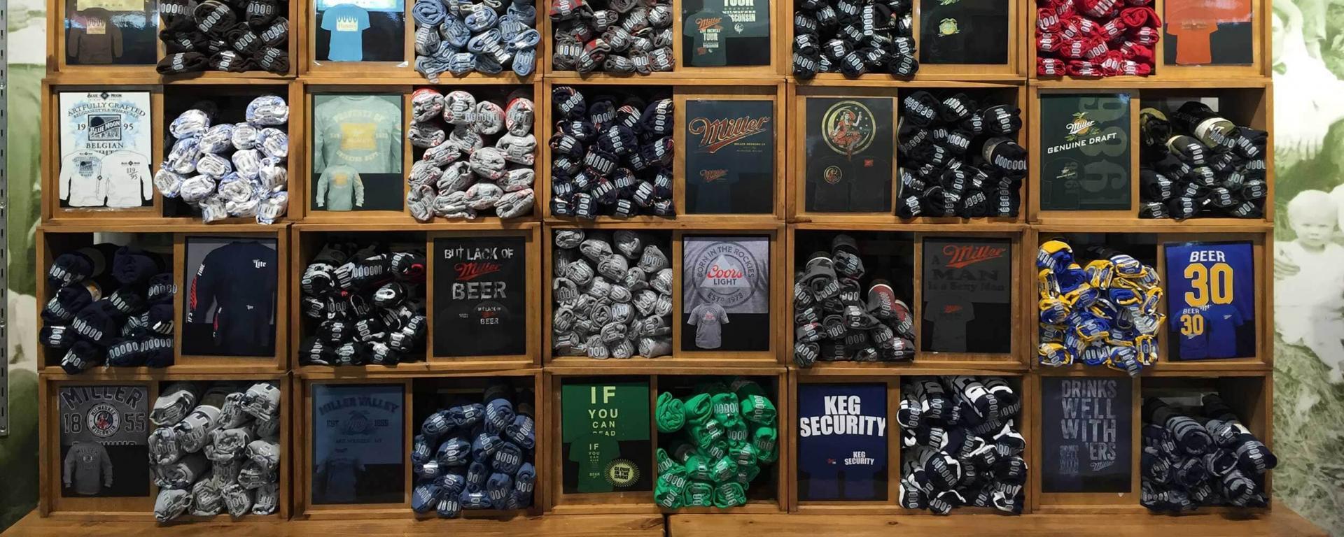 milwaukee tours gift shop t-shirt display