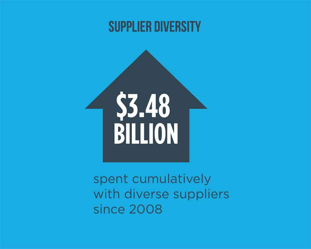 "illustration with text ""$3.48 billion spent cumulatively with diverse suppliers since 2008"""