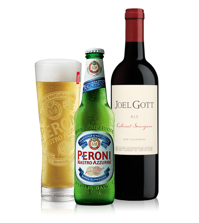 Peroni and Red Wine Bottles