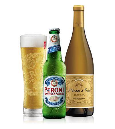 Peroni and White Wine Bottles
