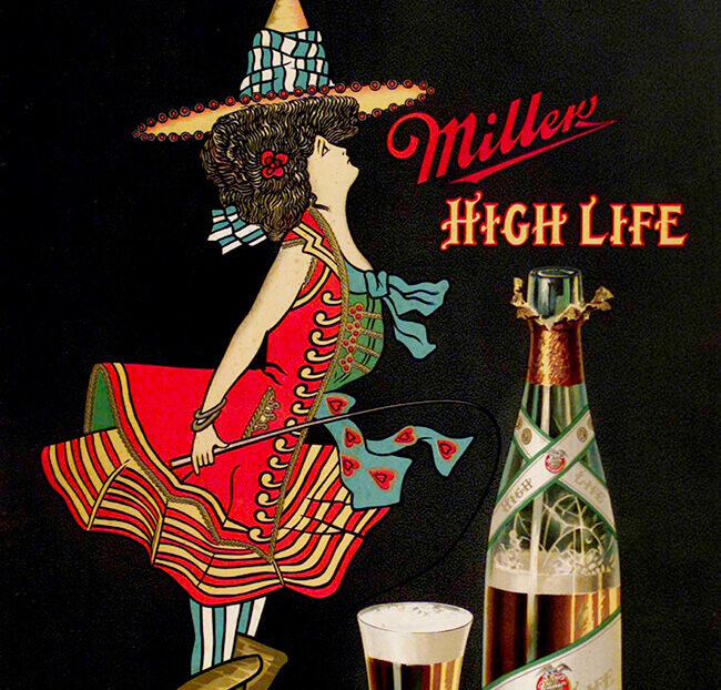 Miller High Life Girl on crate illustration