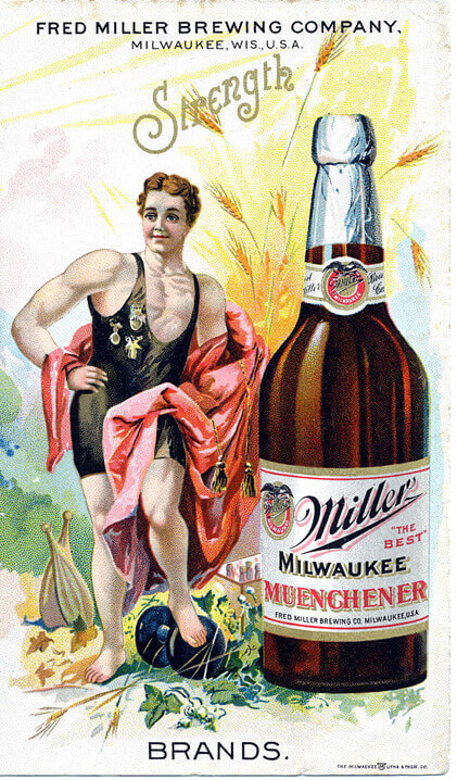Miller labeled bottle poster illustration