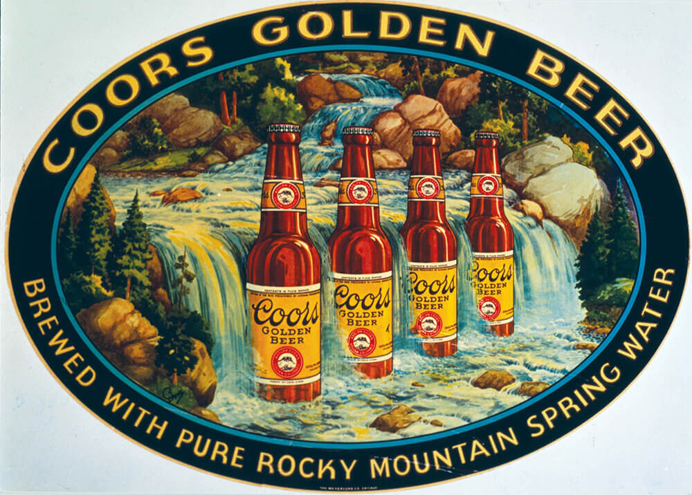 "Label illustration with slogan ""Brewed With Pure Rocky Mountain Water"""