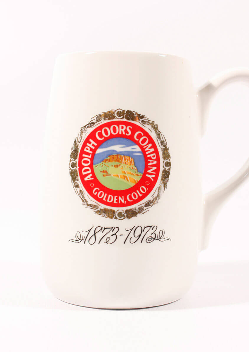 Commemorative ceramic stein with coors logo