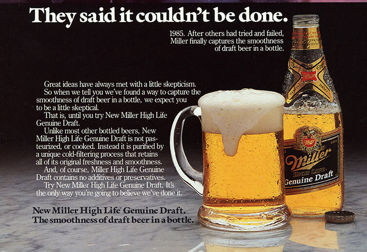"Miller ad with slogan ""They Said It Couldn't Be Done"""
