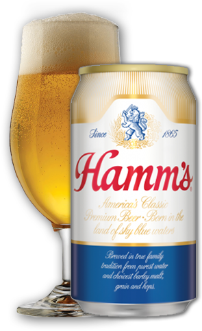 Hamms Can and Glass