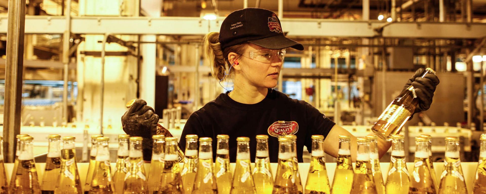 Beer factory line worker